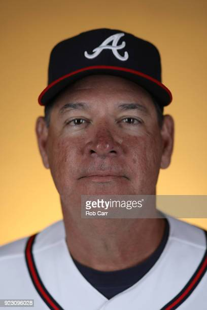 Coach Chuck Hernandez of the Atlanta Braves poses for a photo during photo days at Champion Stadium on February 22 2018 in Lake Buena Vista Florida