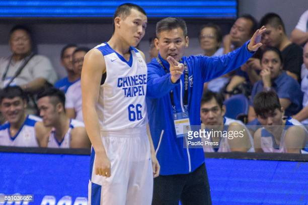 Coach ChunSan Chou of Chinese Taipei giving instruction to KaiYan Lee KaiYan Lee scored a total of 6 points with 2 out of 9 field goals Gilas...