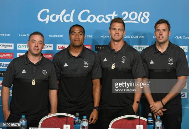 Coach Clarke Laidlaw Sione Molia Scott Curry and Tim Mikkelon are seen during the New Zealand Mens Basketball team press conference on day one of the...