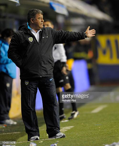 Coach Claudio Borghi of Boca Juniors during a match against Colon as part of the IVECO Bicentenario Apertura 2010 at La Bombonera Stadium on...