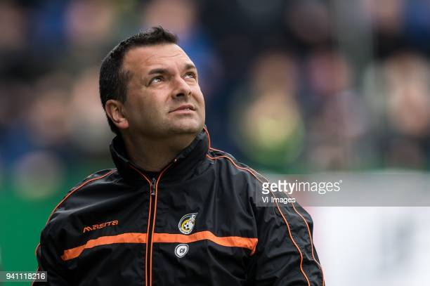coach Claudio Braga of Fortuna Sittard during the Jupiler League match between Fortuna Sittard and Helmond Sport at the Fortuna Sittard Stadium on...