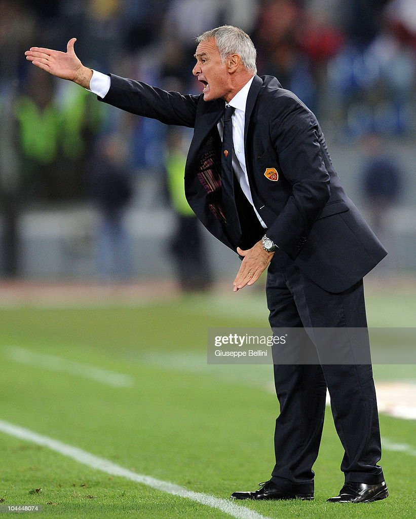 Coach Claudio Ranieri of Roma gestures from the touchline during the Serie A match between AS Roma and Inter Milan at Stadio Olimpico on September 25, 2010 in Rome, Italy.
