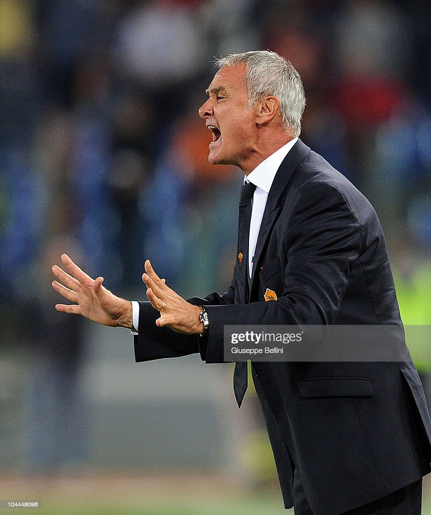 Coach Claudio Ranieri of Roma shouts instructions from the touchline during the Serie A match between AS Roma and Inter Milan at Stadio Olimpico on September 25, 2010 in Rome, Italy.