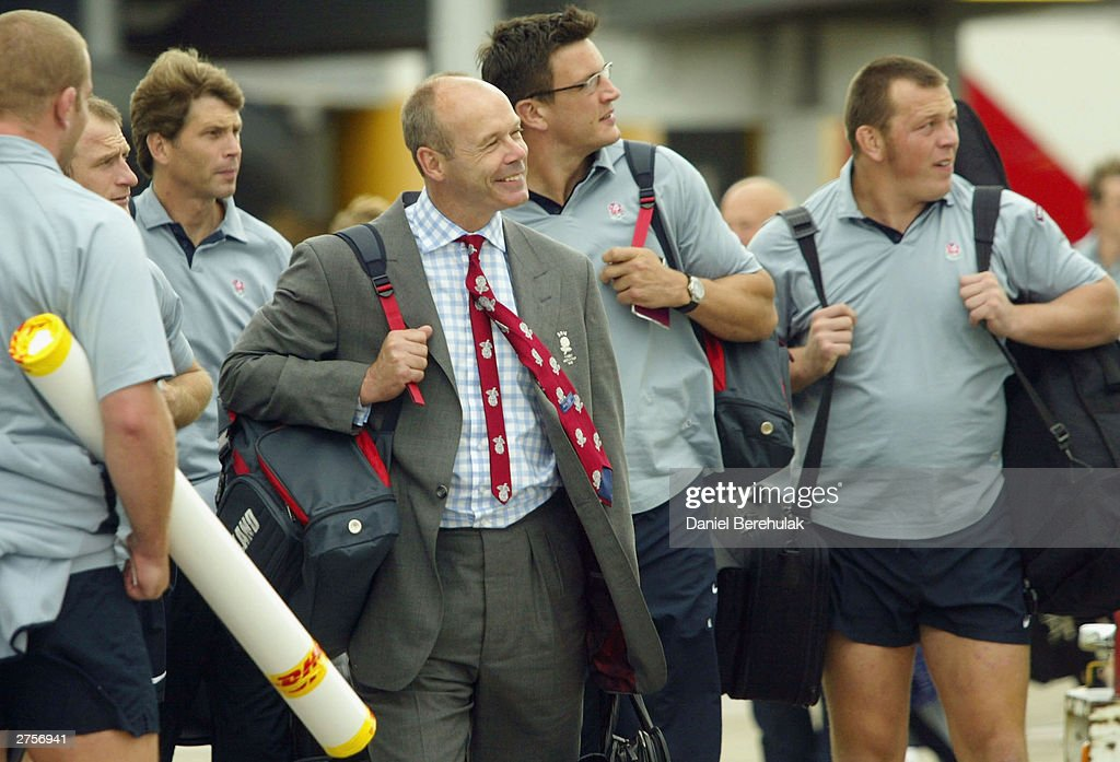 Coach Clive Woodward inspects the British Airways aircraft during the departure of the England Rugby team at Sydney International Airport November 24, 2003 in Sydney, Australia. (Photo by Daniel Berehulak/Getty Images) The England Rugby Team depart Sydney victorious after winning the Rugby World Cup defeating Australia 20:17 in the final.