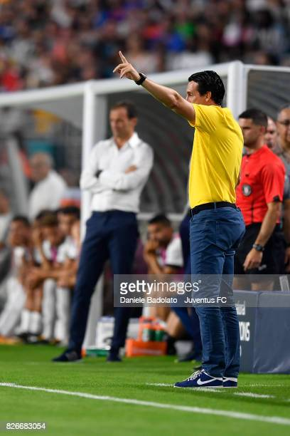 coach coach Unai Emery of PSG in action during the International Champions Cup 2017 match between Paris Saint Germain and Juventus at Hard Rock...
