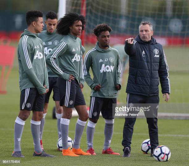 Coach Colin Little of Manchester United U18s in action during an U18s training session at Aon Training Complex on May 2 2018 in Manchester England