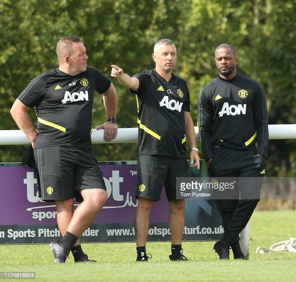 Coach Colin Little of Manchester United U18s in action during the U18 Premier League match between Manchester United U18s and Derby County U18s at...