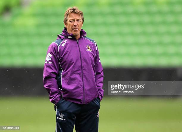 Coach Craig Bellamy looks on during a Melbourne Storm NRL training session at AAMI Park on July 9 2014 in Melbourne Australia