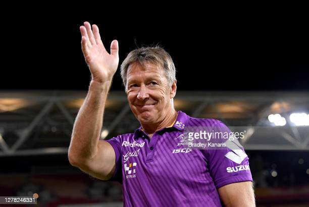 Coach Craig Bellamy of the Storm celebrates victory after the NRL Qualifying Final match between the Melbourne Storm and the Parramatta Eels at...