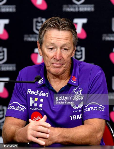Coach Craig Bellamy of the Storm speaks during a press conference after the NRL Grand Final Qualifier match between the Melbourne Storm and the...