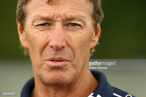Coach Craig Bellamy of the Storm speaks to media during a Melbourne Storm NRL training session at Gosch's Paddock on February 28 2012 in Melbourne...