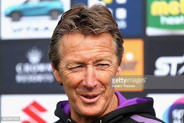 Coach Craig Bellamy speaks to media during a Melbourne Storm NRL training session at Gosch's Paddock on May 20 2016 in Melbourne Australia