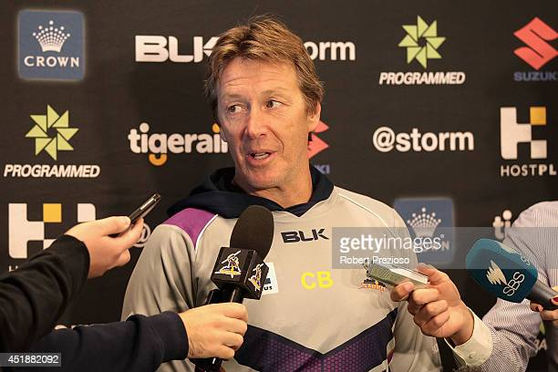 Coach Craig Bellamy speaks to the media during a Melbourne Storm NRL training session at AAMI Park on July 9 2014 in Melbourne Australia