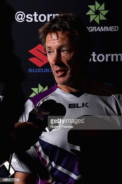 Coach Craig Bellamy speaks to the media during a Melbourne Storm NRL media session at AAMI Park on April 24 2014 in Melbourne Australia