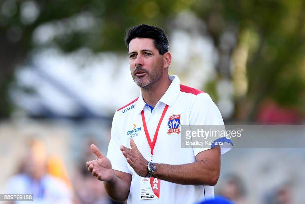 Coach Craig Deans of the Jets shows his support during the round seven WLeague match between the Brisbane Roar and the Newcastle jets at AJ Kelly...