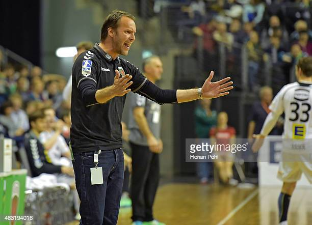 coach Dagur Sigurdsson of Fuechse Berlin gestures during the game between Fuechse Berlin and GWD Minden on february 11 2015 in Berlin Germany