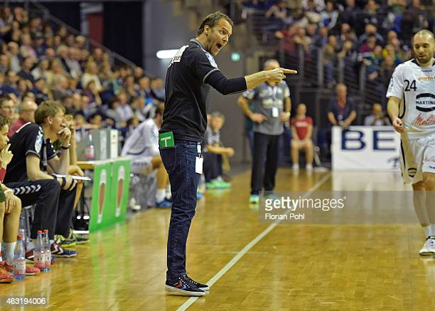 coach Dagur Sigurdsson of Fuechse Berlin gives instructions during the game between Fuechse Berlin and GWD Minden on february 11 2015 in Berlin...