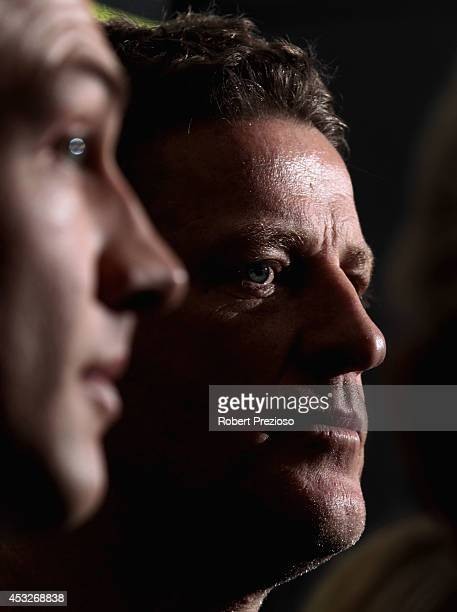 Coach Damien Hardwick speaks to the media during a Richmond Tigers AFL training session at ME Bank Centre on August 7 2014 in Melbourne Australia