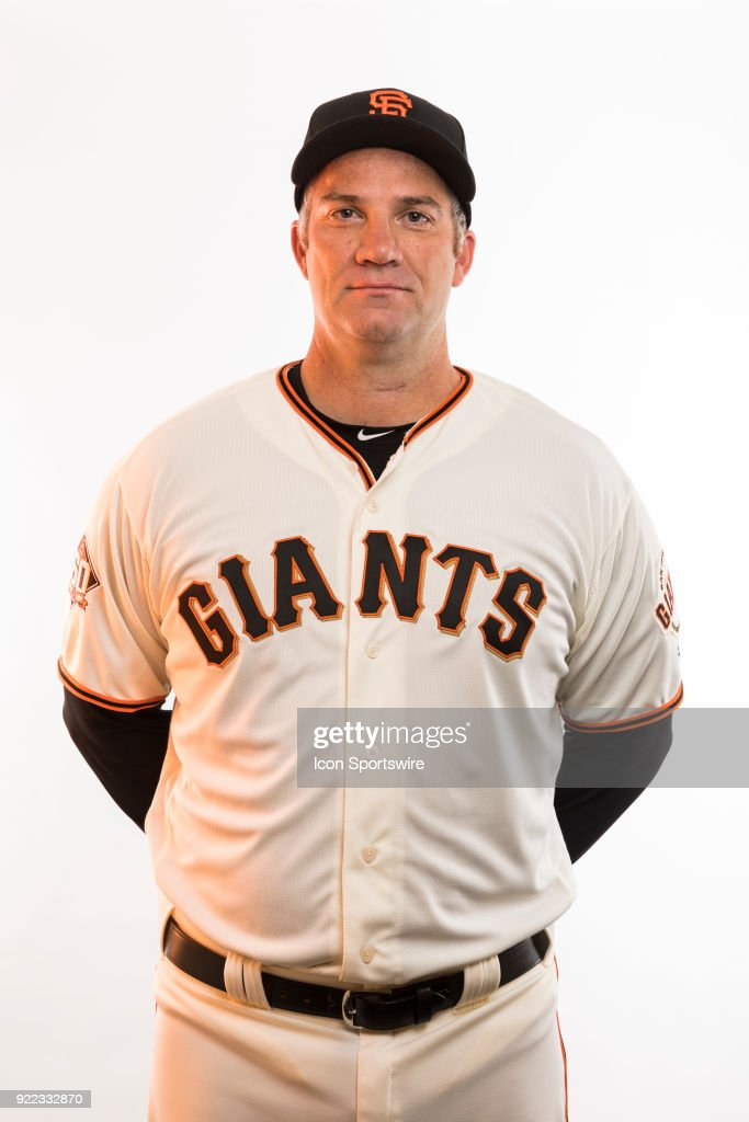 Coach Damon Minor (37) poses for a photo during the San Francisco Giants photo day on Tuesday, Feb. 20, 2018 at Scottsdale Stadium in Scottsdale, Ariz.
