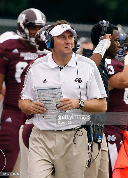 Coach Dan Mulens of the Mississippi State Bulldogs watches on the sideline in the fourth quarter of a NCAA college football game against Auburn...