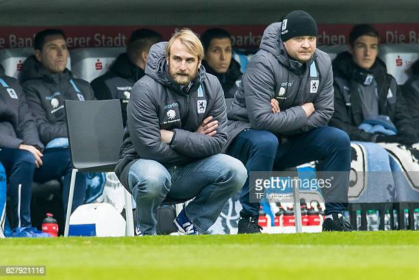 coach Daniel Bierofka of TSV 1860 Muenchen Cocoach Tuncay Nadaroglu of TSV 1860 Muenchen looks on during the Second Bandesliga match between TSV 1860...
