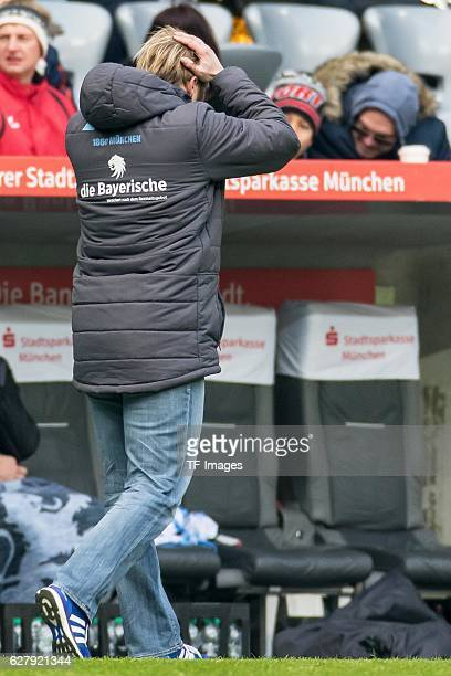 coach Daniel Bierofka of TSV 1860 Muenchen gestures during the Second Bandesliga match between TSV 1860 Muenchen and Dynamo Dresden at Allianz Arena...