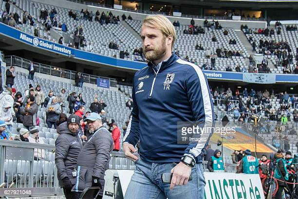 coach Daniel Bierofka of TSV 1860 Muenchen looks on during the Second Bandesliga match between TSV 1860 Muenchen and Dynamo Dresden at Allianz Arena...