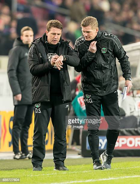 coach Daniel Stendel of Hannover and Cocoach Markus Gellhaus of Hannover gestures during the Second Bundesliga match between VfB Stuttgart and...