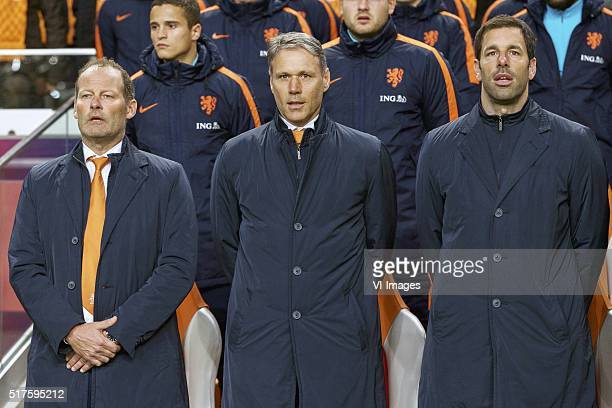 coach Danny Blind of Holland assistant trainer Marco van Basten of Holland assistant trainer Ruud van Nistelrooij of Holland during the friendly...