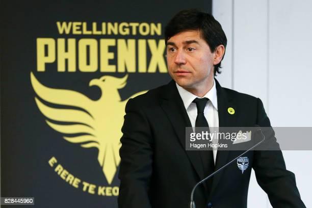 Coach Darije Kalezic speaks during a Wellington Phoenix ALeague media announcement at Wharewaka Function Centre on August 10 2017 in Wellington New...
