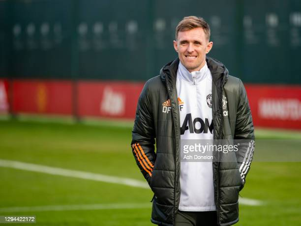 Coach Darren Fletcher of Manchester United in action during a first team training session at Aon Training Complex on January 04, 2021 in Manchester,...