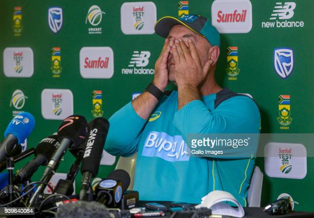 Coach Darren Lehmann of Australia resigns as Australia's national cricket team coach during the Australia national mens cricket team training session...