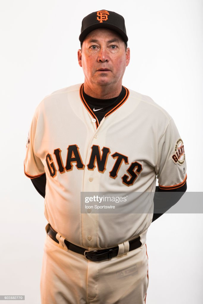 Coach Dave Brundage (45) poses for a photo during the San Francisco Giants photo day on Tuesday, Feb. 20, 2018 at Scottsdale Stadium in Scottsdale, Ariz.