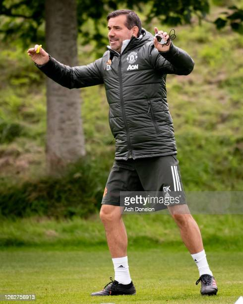 Coach Dave Kelly of Manchester United U18s in action during a training session at Aon Training Complex on July 29, 2020 in Manchester, England.