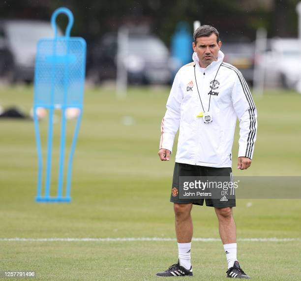 Coach Dave Kelly of Manchester United U23s in action during a training session at Aon Training Complex on July 22, 2020 in Manchester, England.