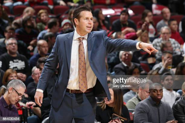 Coach David Joerger of the Sacramento Kings coaches his team as they play against the Chicago Bulls on December 1 2017 at the United Center in...
