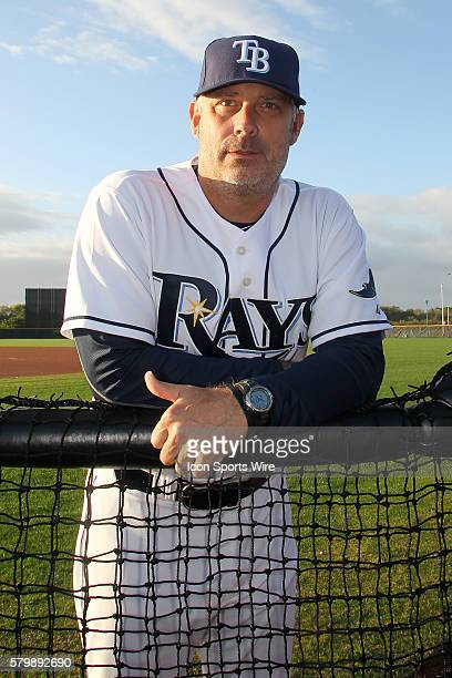 Coach Derek Shelton during the Tampa Bay Rays Spring Training workout at Charlotte Sports Park in Port Charlotte FL
