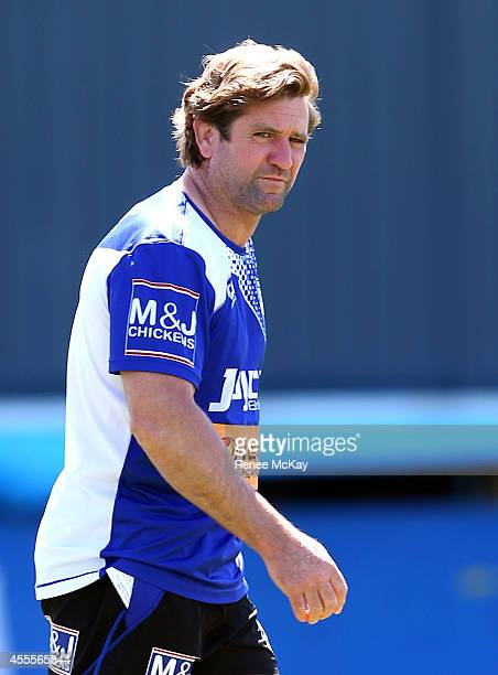 Coach Des Hasler arrives at a Canterbury Bulldogs NRL training session at Belmore Sports Ground on September 17 2014 in Sydney Australia
