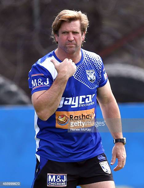 Coach Des Hasler calls quits to filming during a Canterbury Bulldogs NRL training session at Belmore Sports Ground on September 24 2014 in Sydney...