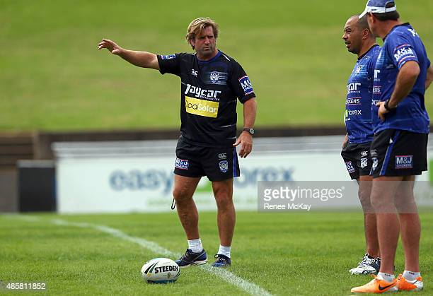 Coach Des Hasler instructs his team during a Canterbury Bulldogs NRL training session at Belmore Sports Ground on March 11 2015 in Sydney Australia