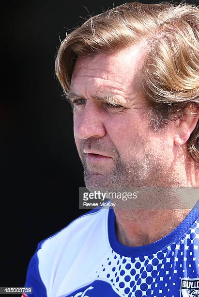 Coach Des Hasler watches his team during a Canterbury Bulldogs NRL training session at on April 16 2014 in Sydney Australia