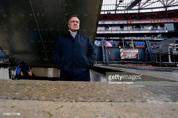 Coach dickb advocaat Tyrell Malacia of Feyenoord during the Dutch Eredivisie match between Feyenoord Rotterdam and FC Utrecht at the Kuip on...