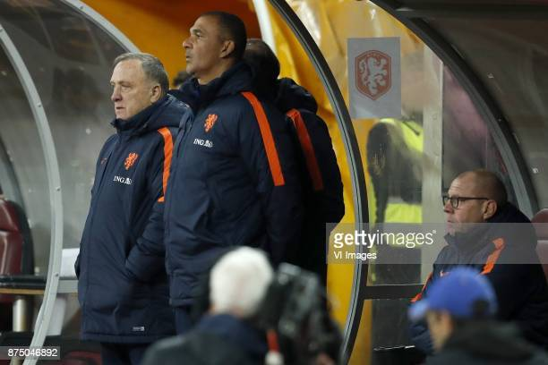 coach Dick Advocaat of Holland assistant trainer Ruud Gullit of Holland assistant trainer Fred Grim of Holland during the friendly match between...