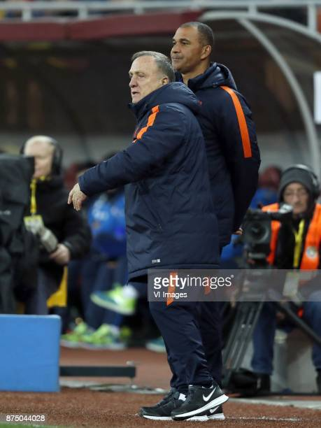 coach Dick Advocaat of Holland assistant trainer Ruud Gullit of Holland during the friendly match between Romania and The Netherlands on November 14...