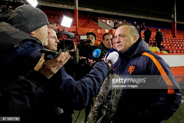 coach Dick Advocaat of Holland is talking to the Dutch Press where he anounce to resign as Coach of the Dutch national team during the match between...