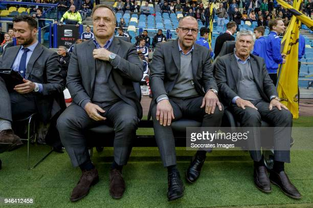 coach Dick Advocaat of Sparta Rotterdam assistant trainer Fred Grim of Sparta Rotterdam assistant trainer Cor Pot of Sparta Rotterdam during the...