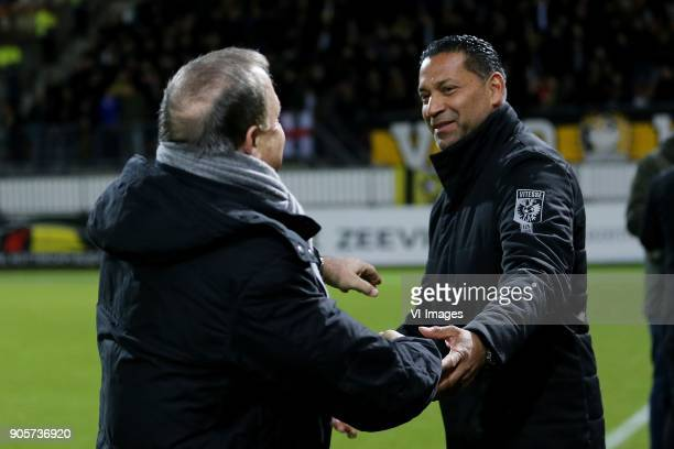 coach Dick Advocaat of Sparta Rotterdam coach Henk Fraser of Vitesse during the Dutch Eredivisie match between Sparta Rotterdam and Vitesse Arnhem at...
