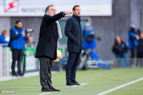 coach Dick Advocaat of Sparta Rotterdam coach John van 't Schip of PEC Zwolle during the Dutch Eredivisie match between PEC Zwolle and Sparta...