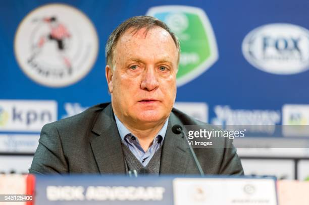 coach Dick Advocaat of Sparta Rotterdam during the Dutch Eredivisie match between Sparta Rotterdam and VVV Venlo at the Sparta stadium Het Kasteel on...