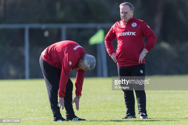 coach Dick Advocaat of Sparta Rotterdam is watching the stretching excersize of assistent trainer Cor Pot of Sparta Rotterdam during a training...